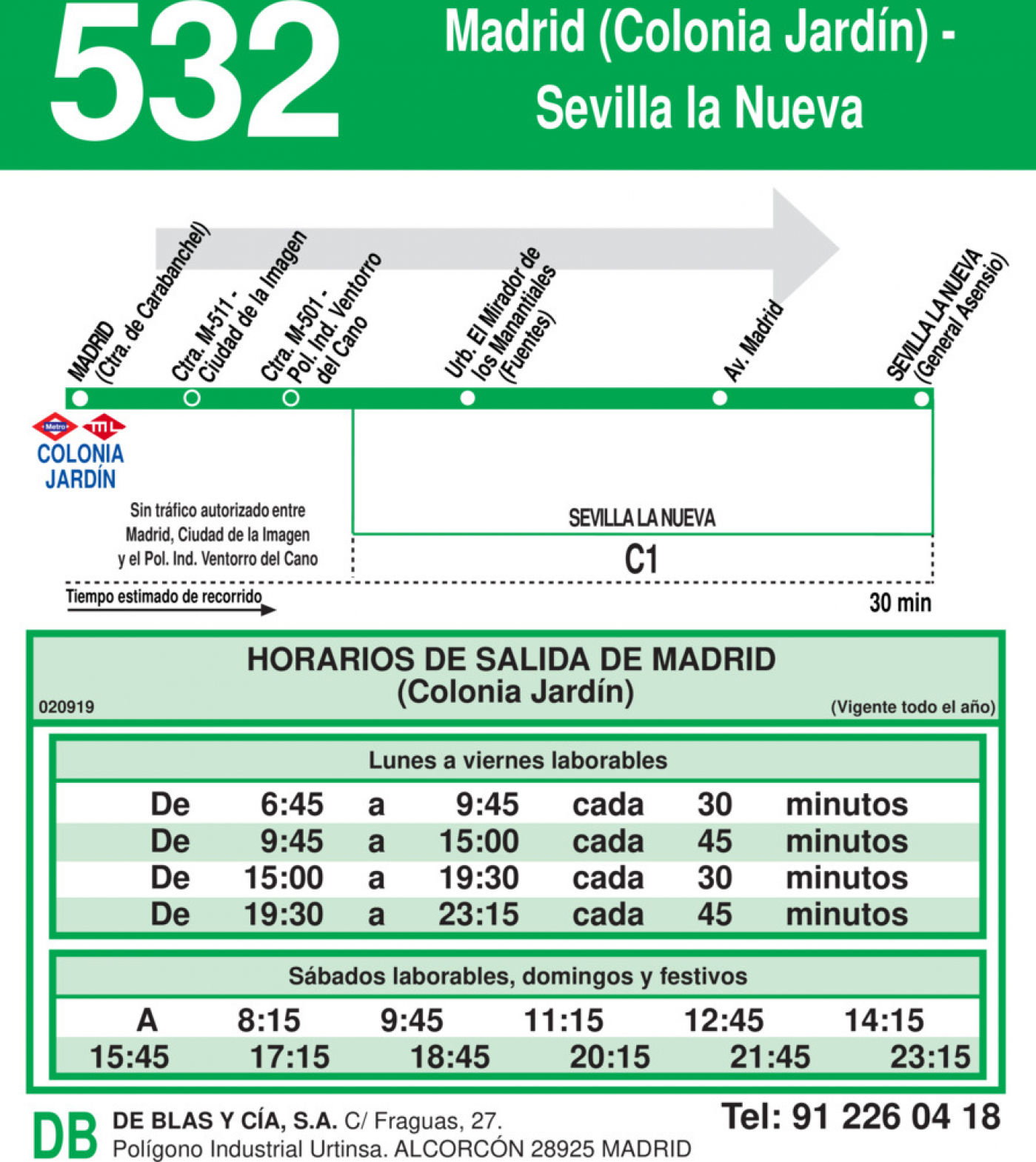 Horarios de autob s 532 madrid colonia jard n sevilla for Colonia jardin madrid
