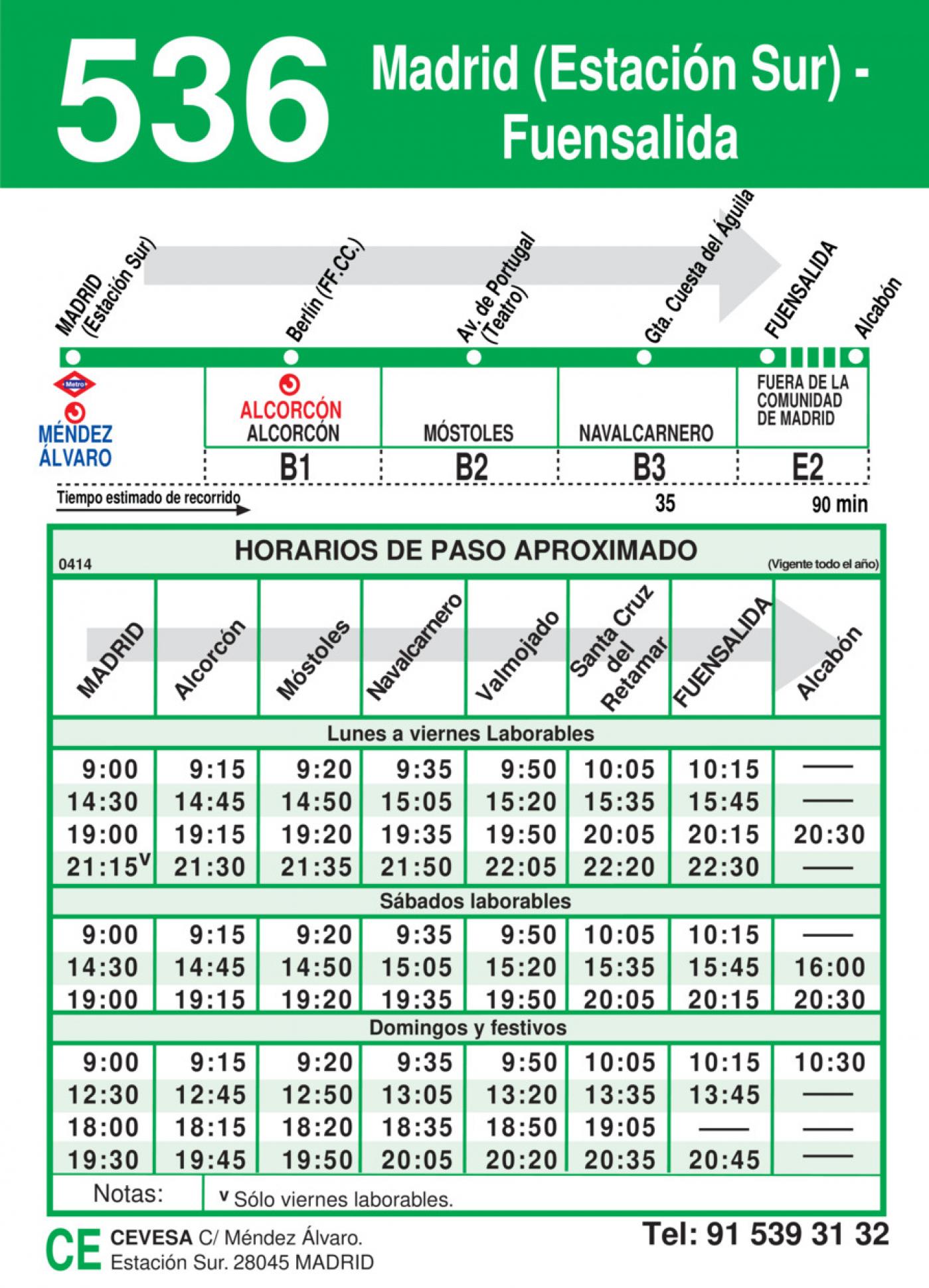 Tabla de horarios y frecuencias de paso en sentido ida Línea 536: Madrid (Estación Sur) - Fuensalida