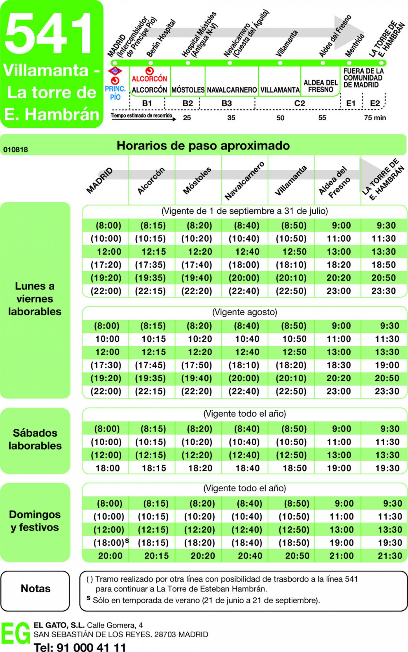 Tabla de horarios y frecuencias de paso en sentido ida Línea 541: Madrid (Príncipe Pío) - Villamanta - La Torre de Esteban Hambrán