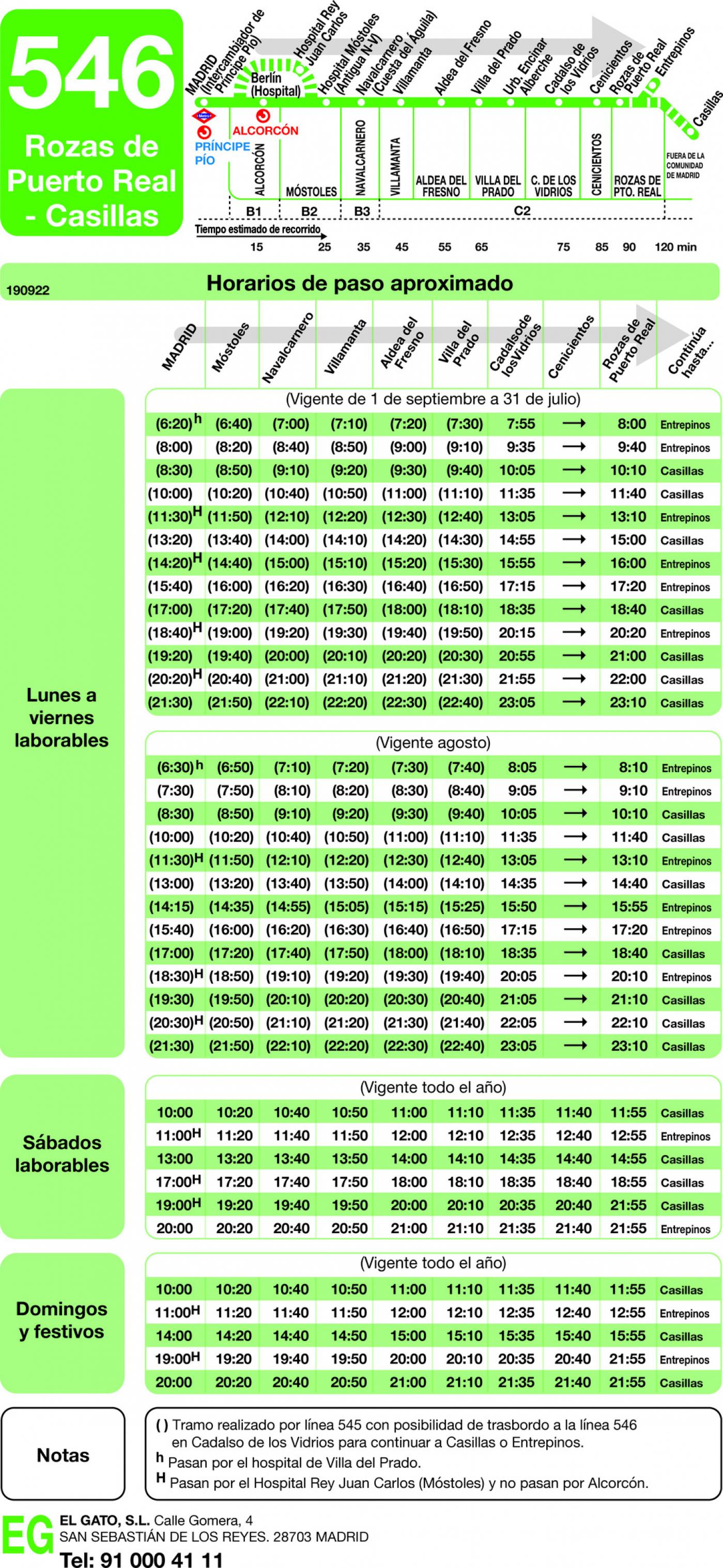Tabla de horarios y frecuencias de paso en sentido ida Línea 546: Madrid (Príncipe Pío) - Rozas de Puerto Real - Casillas