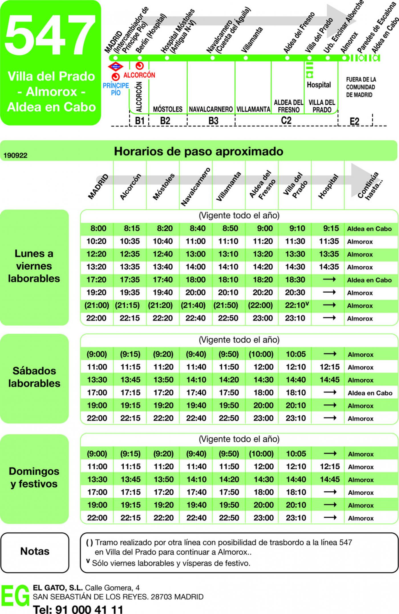 Tabla de horarios y frecuencias de paso en sentido ida Línea 547: Madrid (Principe Pío) - Villa del Prado - Almorox - Aldeaencabo