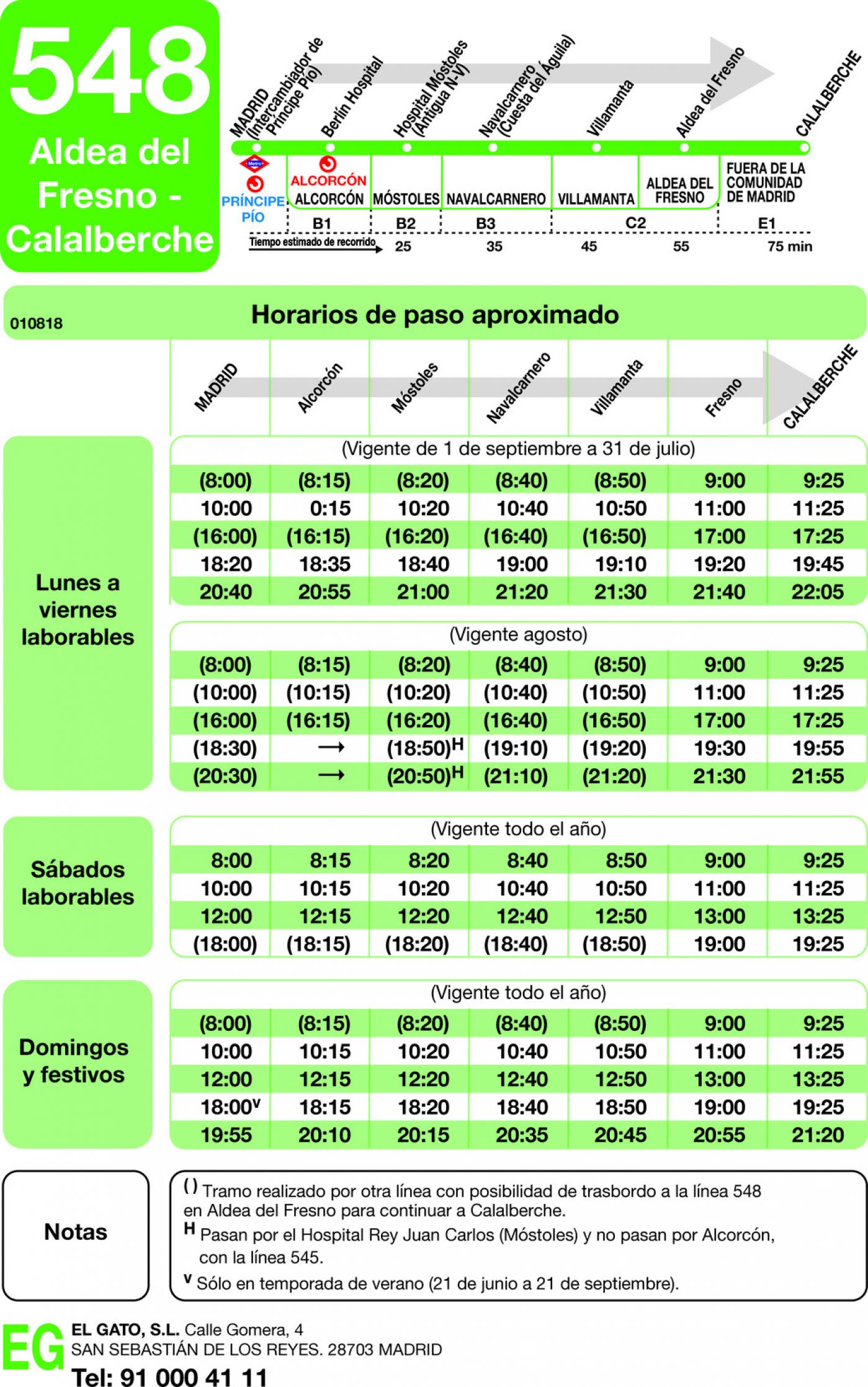 Tabla de horarios y frecuencias de paso en sentido ida Línea 548: Madrid (Príncipe Pío) - Aldea del Fresno - Calalberche
