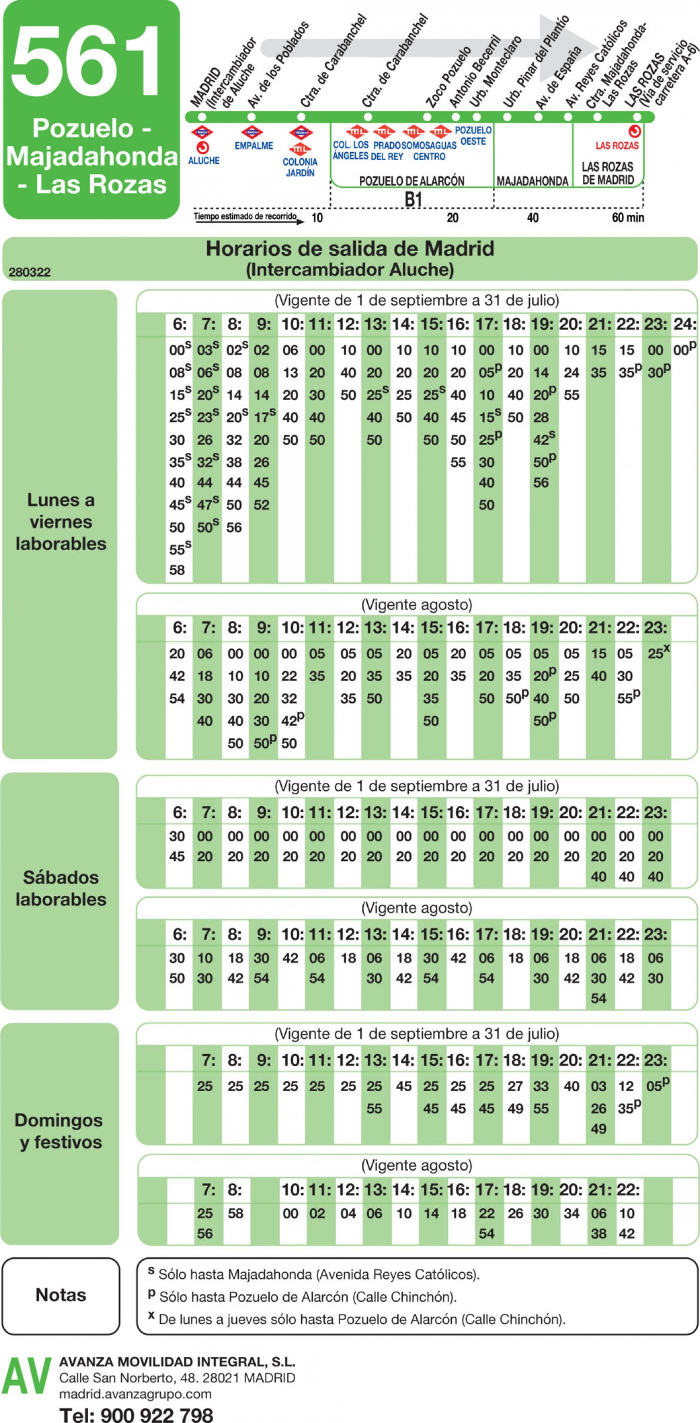 Tabla de horarios y frecuencias de paso en sentido ida Línea 561: Madrid (Aluche) - Pozuelo - Majadahonda - Las Rozas