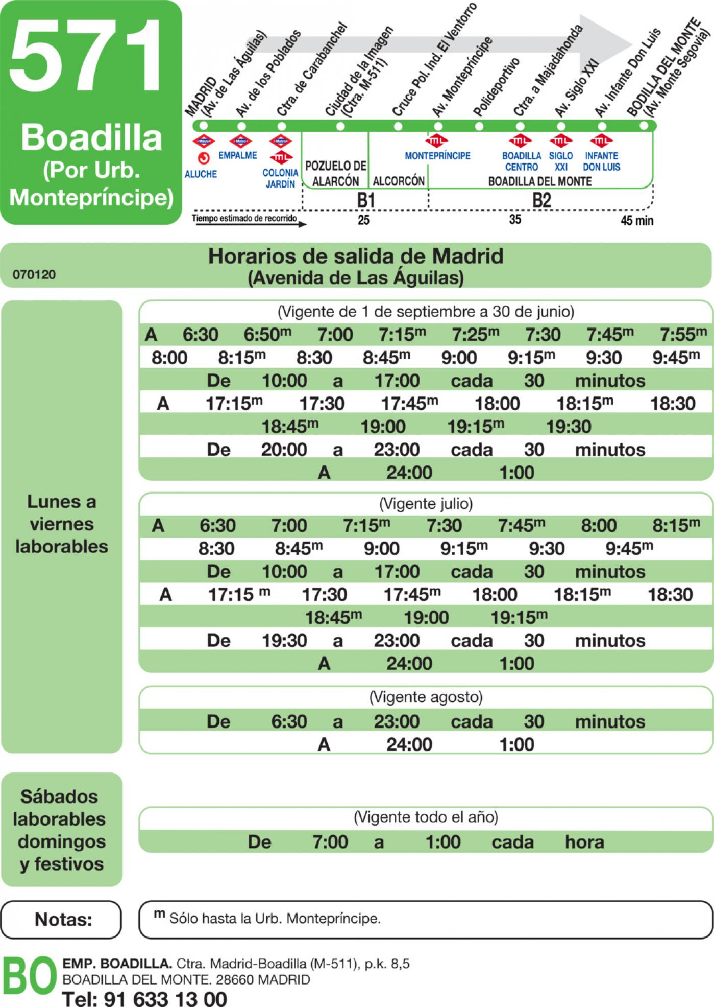 Tabla de horarios y frecuencias de paso en sentido ida Línea 571: Madrid (Aluche) - Boadilla (Urbanización Montepríncipe)