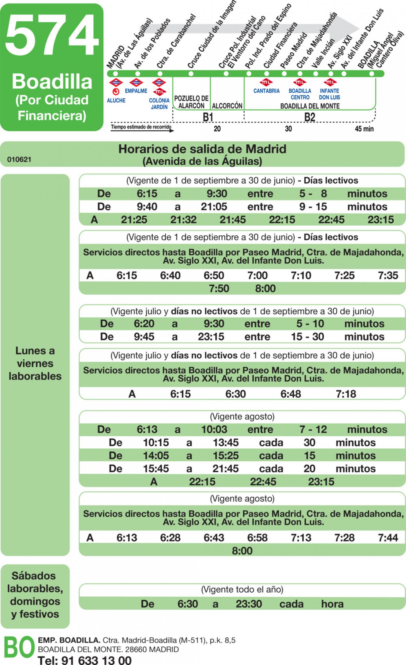 Tabla de horarios y frecuencias de paso en sentido ida Línea 574: Madrid (Aluche) - Boadilla del Monte (Ciudad Financiera)