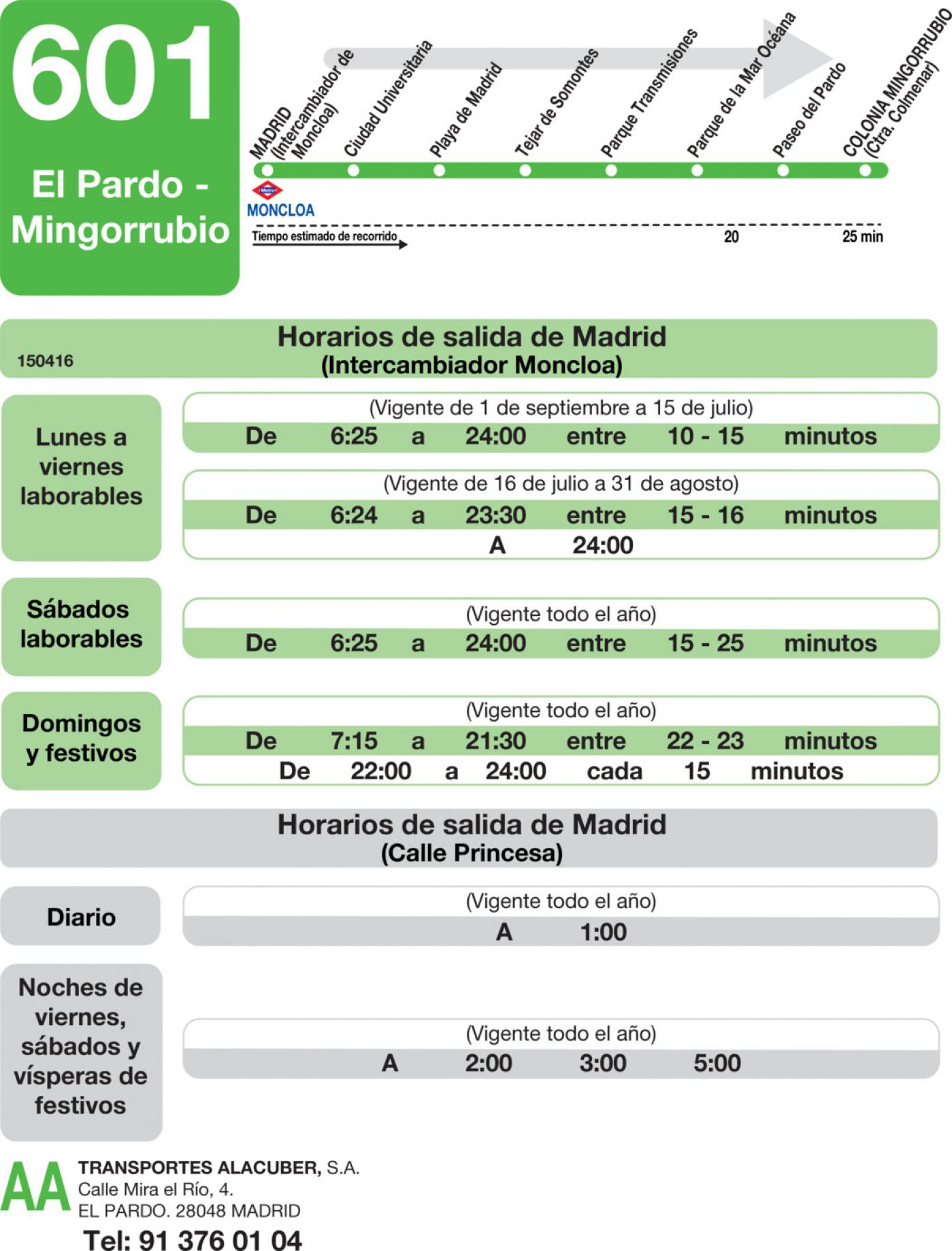 Tabla de horarios y frecuencias de paso en sentido ida Línea 601: Madrid (Moncloa) - El Pardo - Mingorrubio