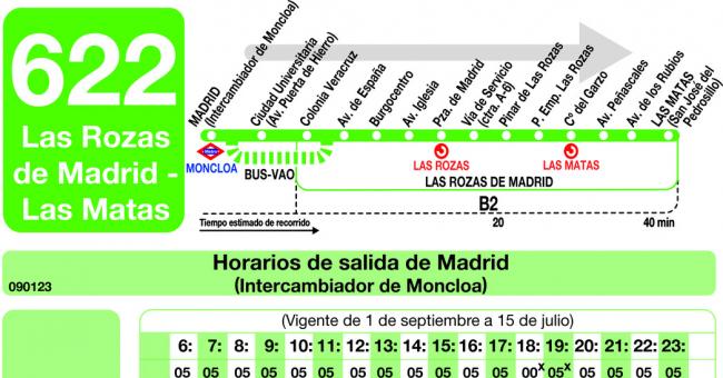 Horarios de autob s 622 madrid moncloa las rozas for Mudanzas en las rozas