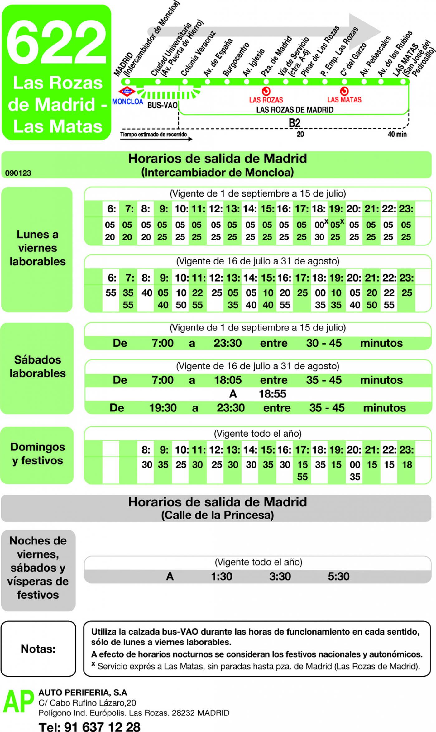 Tabla de horarios y frecuencias de paso en sentido ida Línea 622: Madrid (Moncloa) - Las Rozas - Las Matas