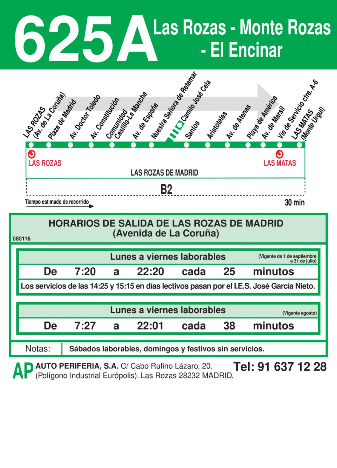 Tabla de horarios y frecuencias de paso en sentido ida Línea 625-A: Las Rozas - Monte Rozas - El Encinar