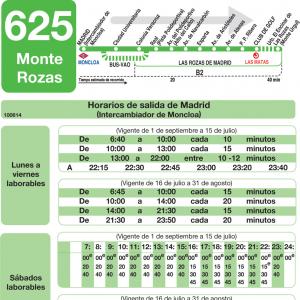 Horarios De Autobus 625 Madrid Moncloa Monte Rozas