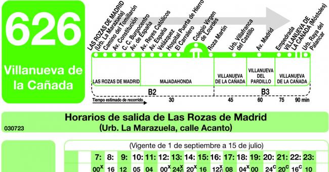 Horarios de autob s 626 las rozas majadahonda - Cb villanueva de la canada ...