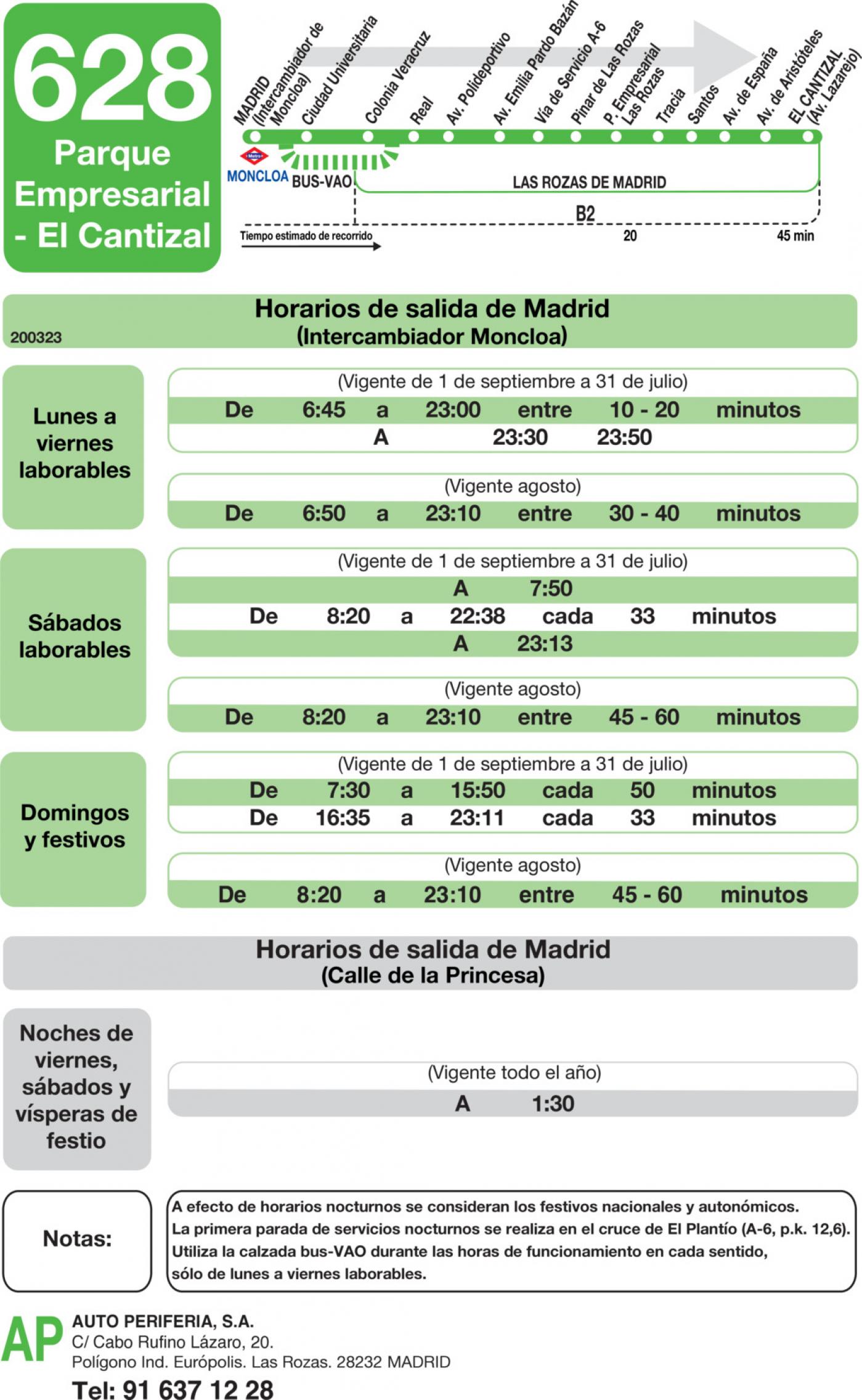 Tabla de horarios y frecuencias de paso en sentido ida Línea 628: Madrid (Moncloa) - Parque Empresarial - El Cantizal