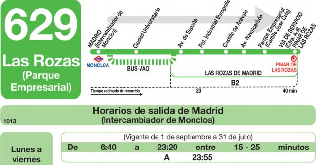 Horarios de autob s 629 madrid moncloa las rozas for Mudanzas en las rozas