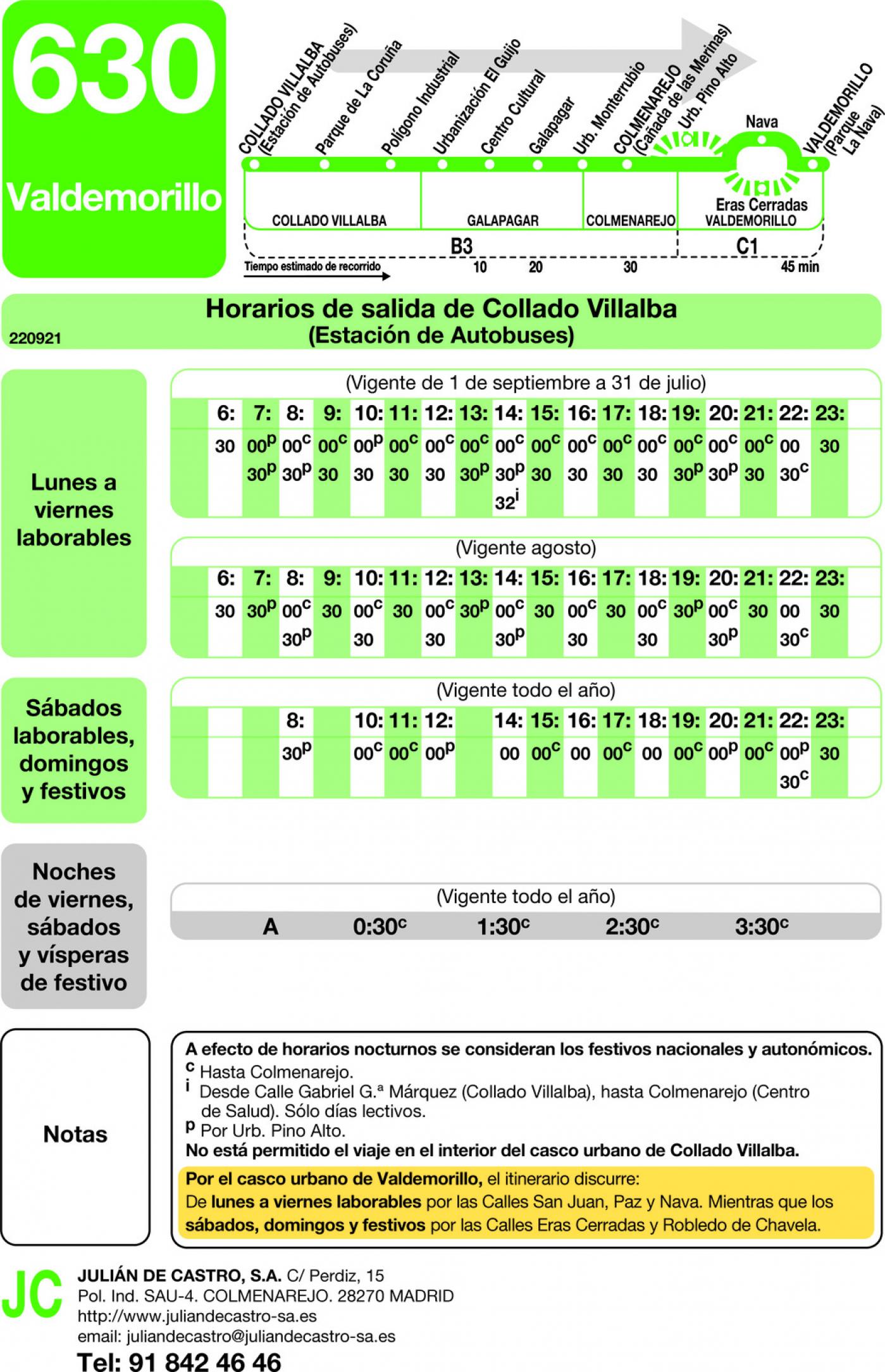 Tabla de horarios y frecuencias de paso en sentido ida Línea 630: Villalba (Estación) - Galapagar - Colmenarejo - Valdemorillo