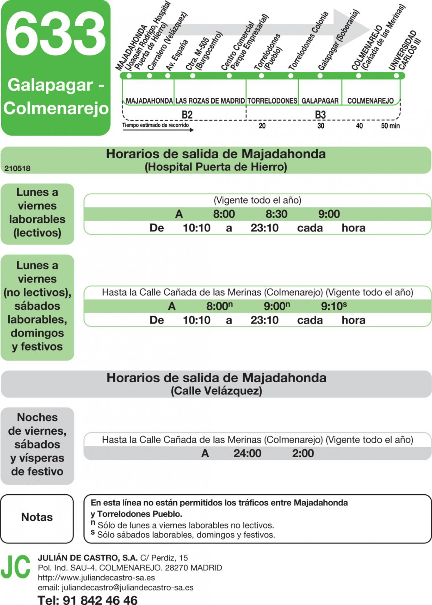 Tabla de horarios y frecuencias de paso en sentido ida Línea 633: Majadahonda (Hospital) - Colmenarejo