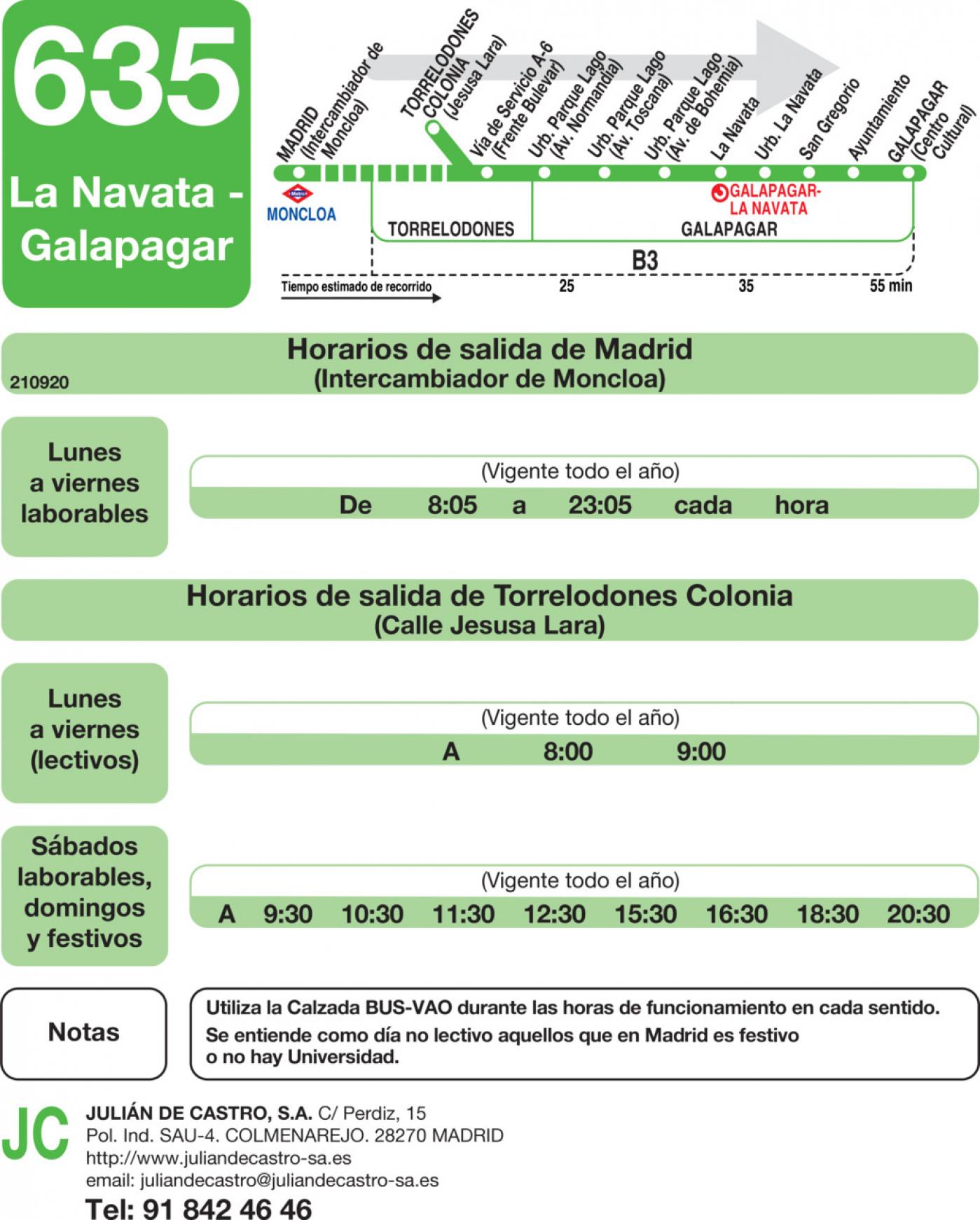 Tabla de horarios y frecuencias de paso en sentido ida Línea 635: Madrid (Moncloa) - Torrelodones (Colonia) - La Navata - Galapagar