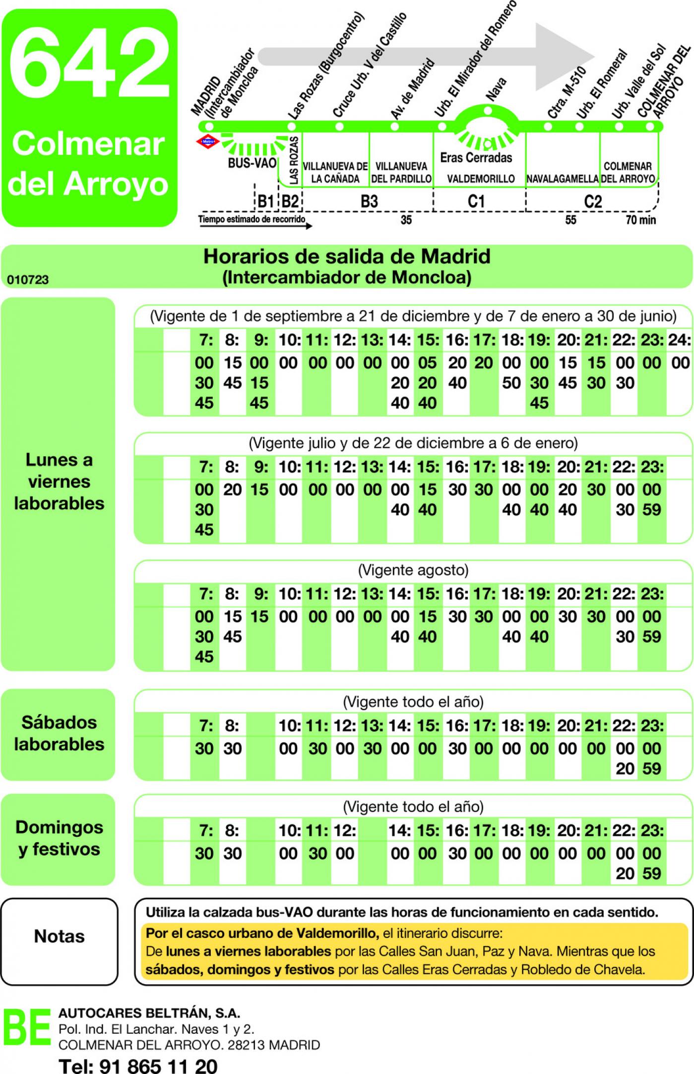Tabla de horarios y frecuencias de paso en sentido ida Línea 642: Madrid (Moncloa) - Colmenar del Arroyo