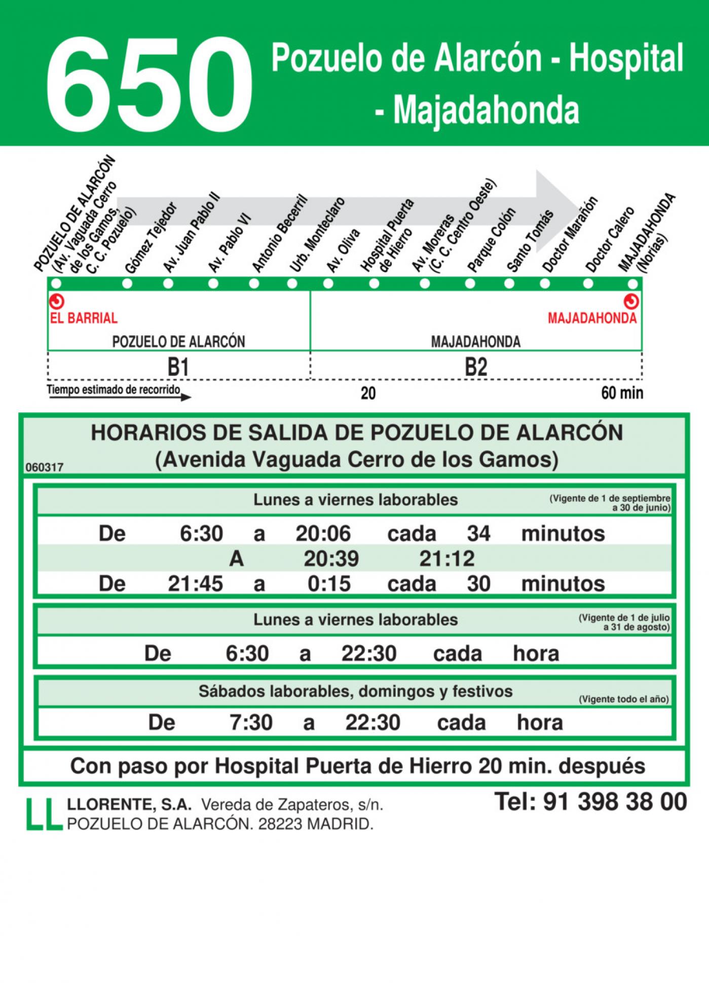 Tabla de horarios y frecuencias de paso en sentido ida Línea 650: Pozuelo de Alarcón - Hospital - Majadahonda