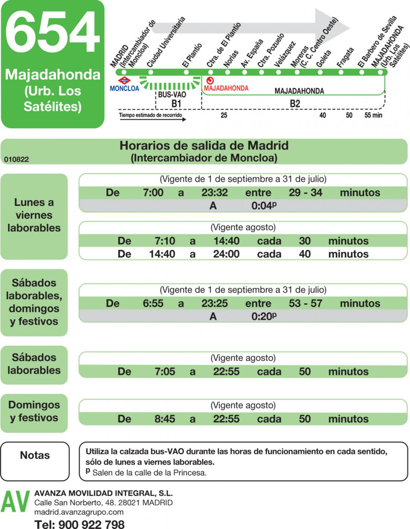 Tabla de horarios y frecuencias de paso en sentido ida Línea 654: Madrid (Moncloa) - Majadahonda (Los Negrillos)