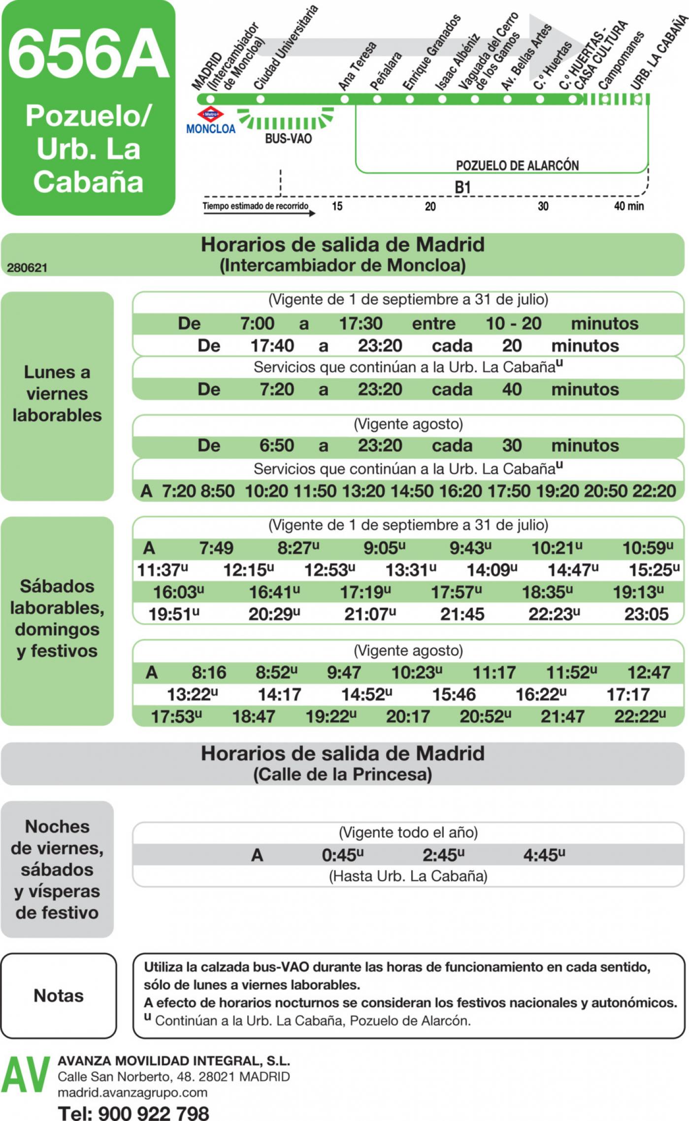 Tabla de horarios y frecuencias de paso en sentido ida Línea 656-A: Madrid (Moncloa) - Pozuelo (Calle Huertas)