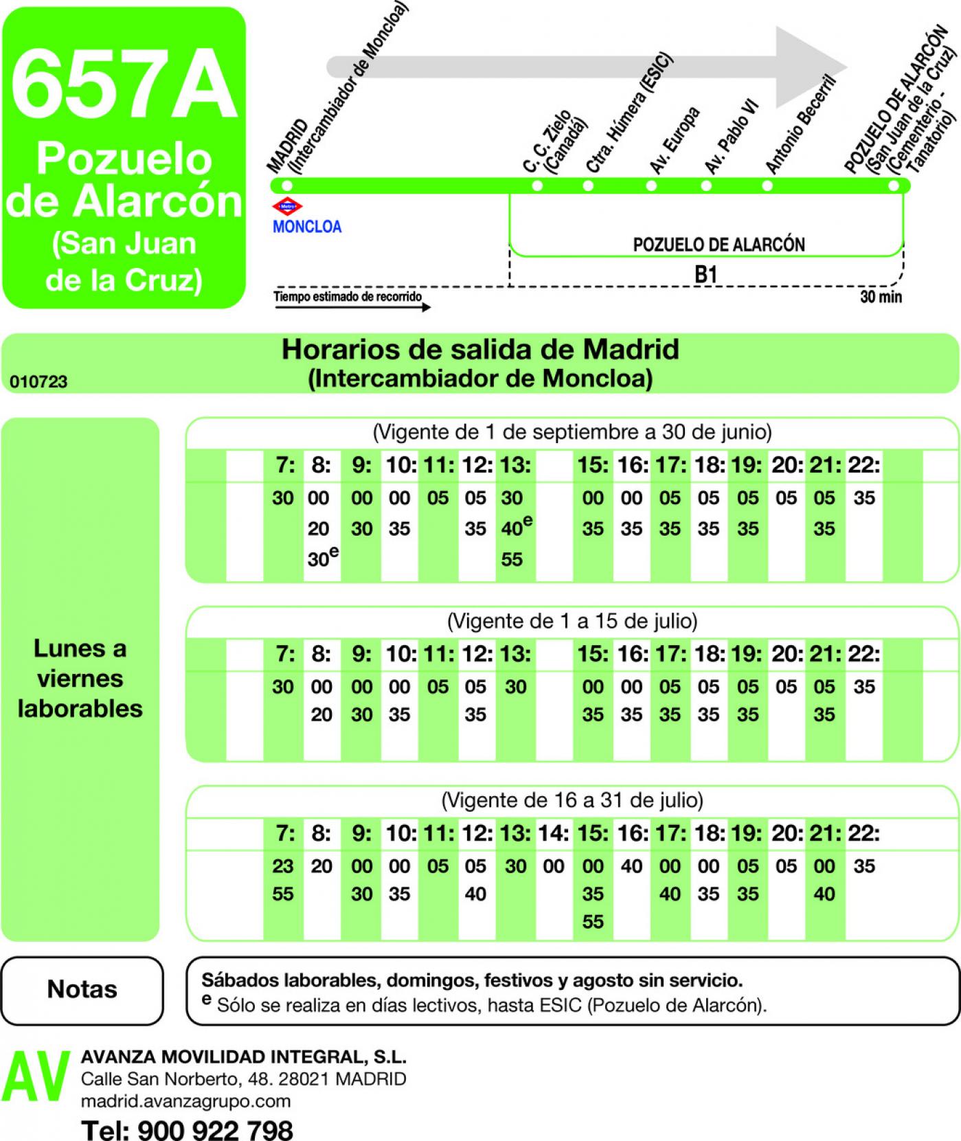 Tabla de horarios y frecuencias de paso en sentido ida Línea 657-A: Madrid (Moncloa) - Pozuelo (San Juan de la Cruz)