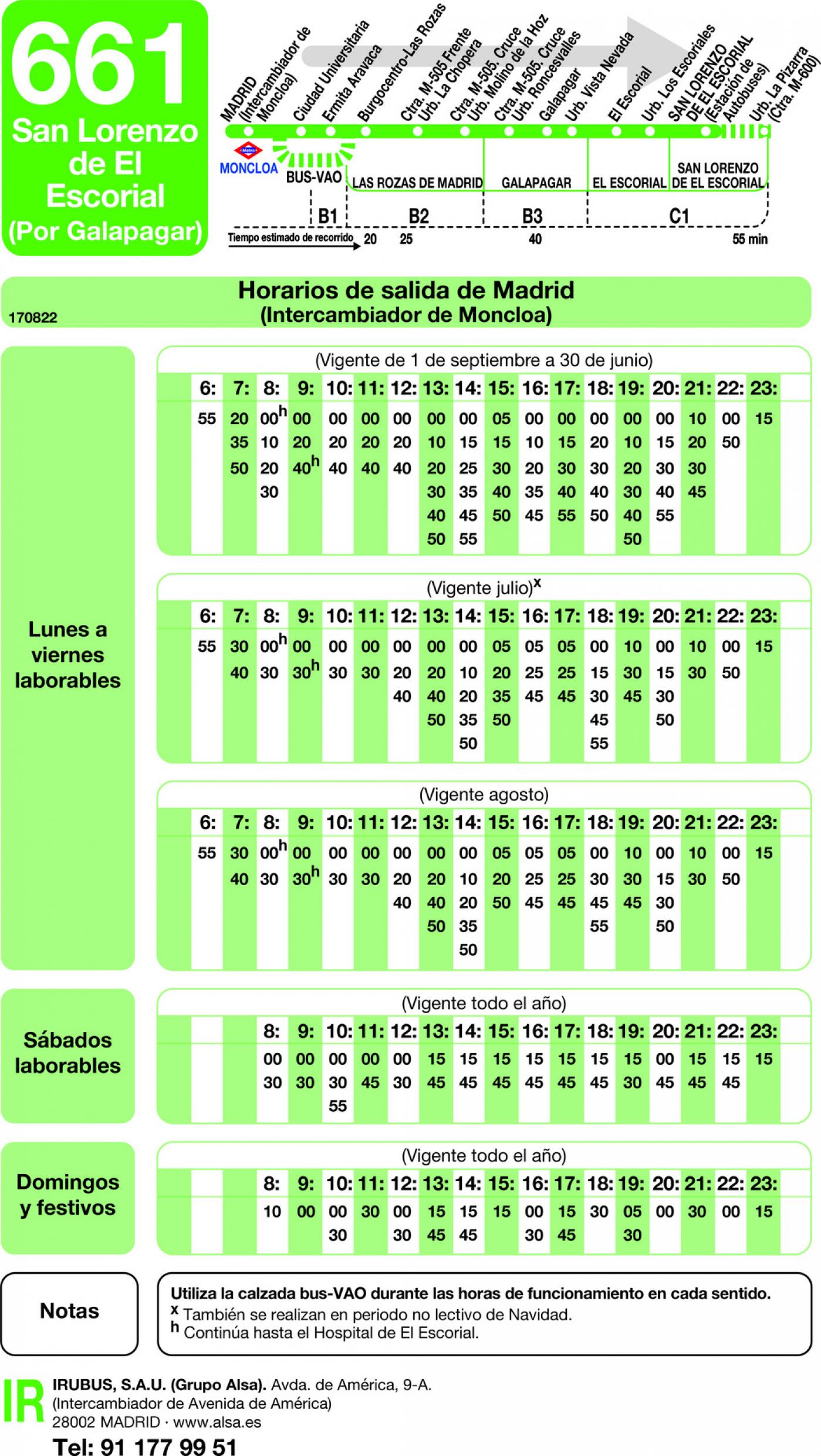 Tabla de horarios y frecuencias de paso en sentido ida Línea 661: Madrid (Moncloa) - San Lorenzo de El Escorial (Galapagar)