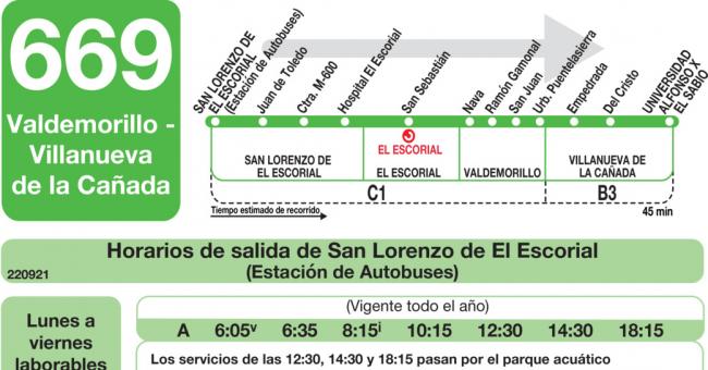Horarios de autob s 669 san lorenzo de el escorial - Obra nueva en villanueva de la canada ...
