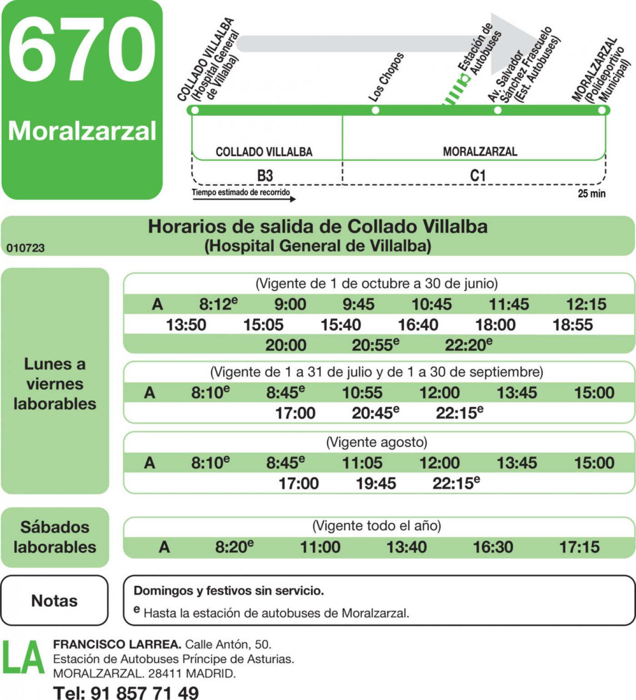 Tabla de horarios y frecuencias de paso en sentido ida Línea 670: Collado Villalba (Hospital) - Moralzarzal