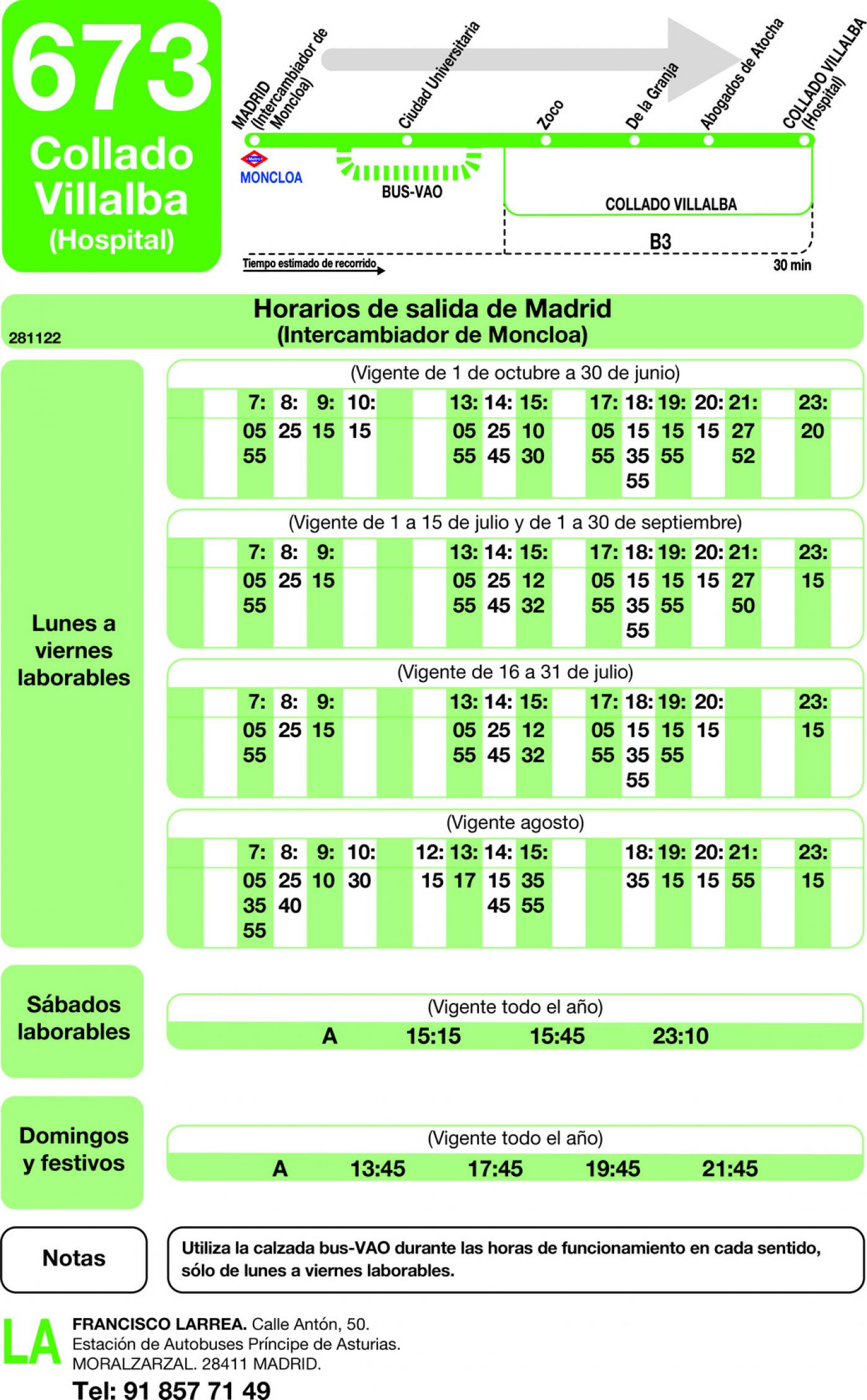 Tabla de horarios y frecuencias de paso en sentido ida Línea 673: Madrid (Moncloa) - Collado Villalba (Los Valles)