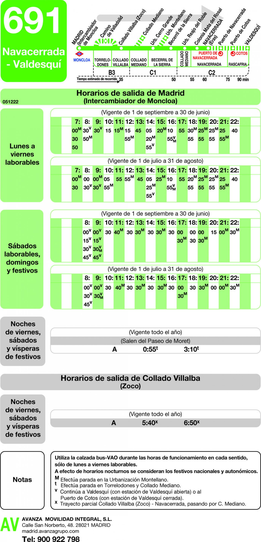 Tabla de horarios y frecuencias de paso en sentido ida Línea 691: Madrid (Moncloa) - Becerril - Navacerrada - Valdesquí