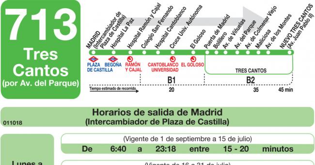 Horarios de autob s 713 madrid plaza castilla tres - Aticos en tres cantos ...