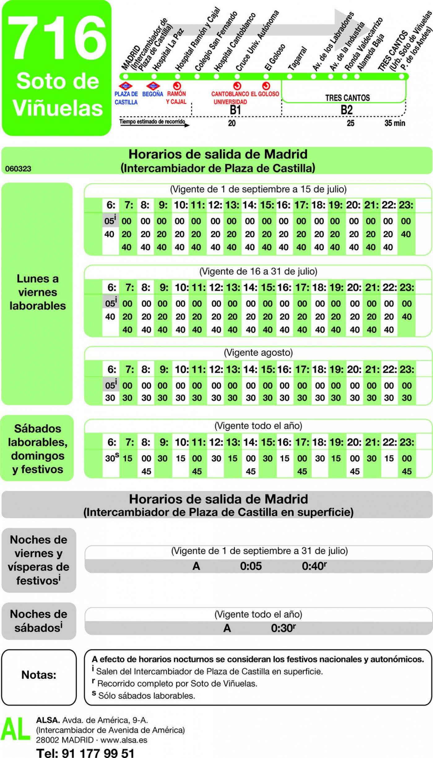 Tabla de horarios y frecuencias de paso en sentido ida Línea 716: Madrid (Plaza Castilla) - Tres Cantos (Soto de Viñuelas)