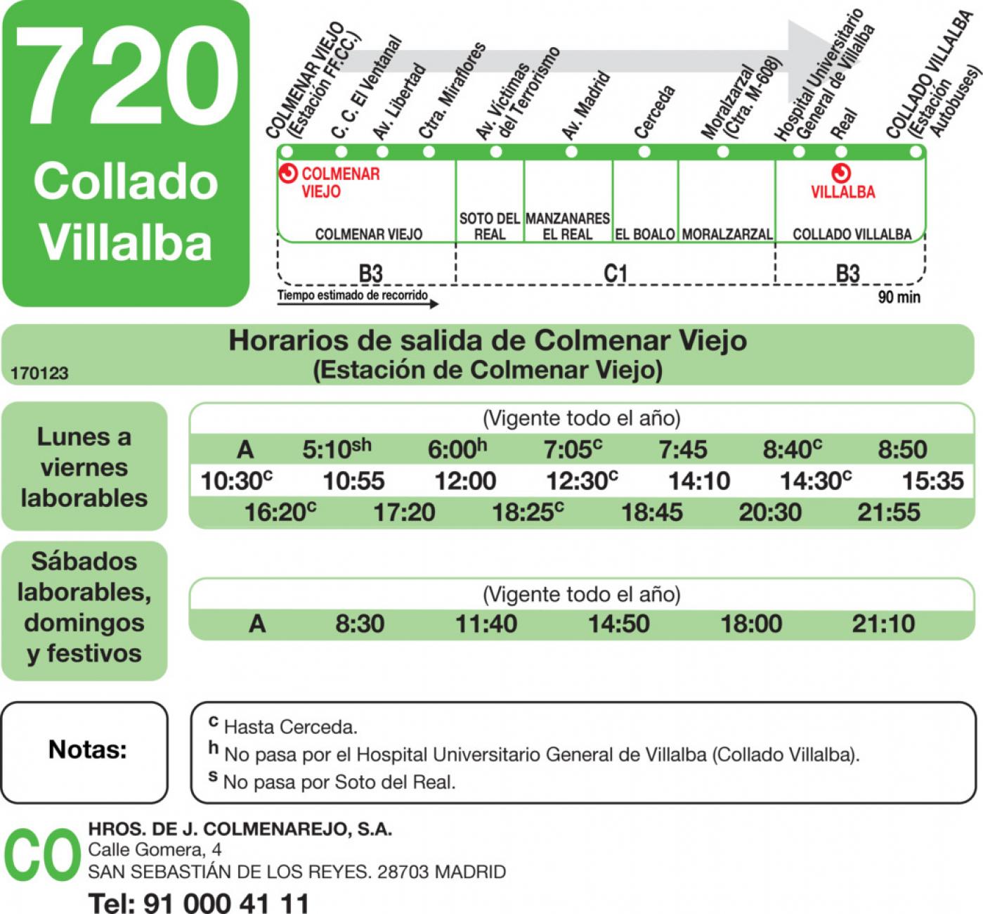 Tabla de horarios y frecuencias de paso en sentido ida Línea 720: Colmenar Viejo - Collado Villalba