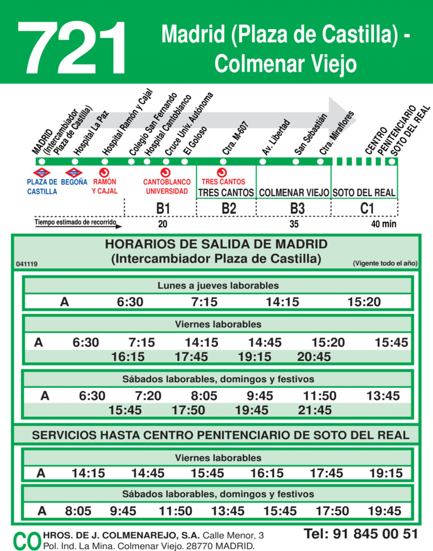 Tabla de horarios y frecuencias de paso en sentido ida Línea 721: Madrid (Plaza Castilla) - Colmenar Viejo