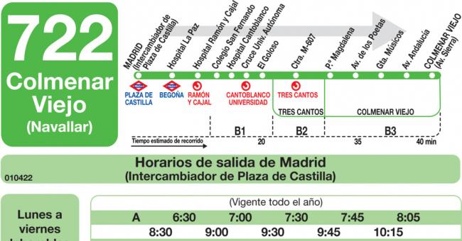 Horarios de autob s 722 madrid plaza castilla for Alquiler de trasteros en colmenar viejo