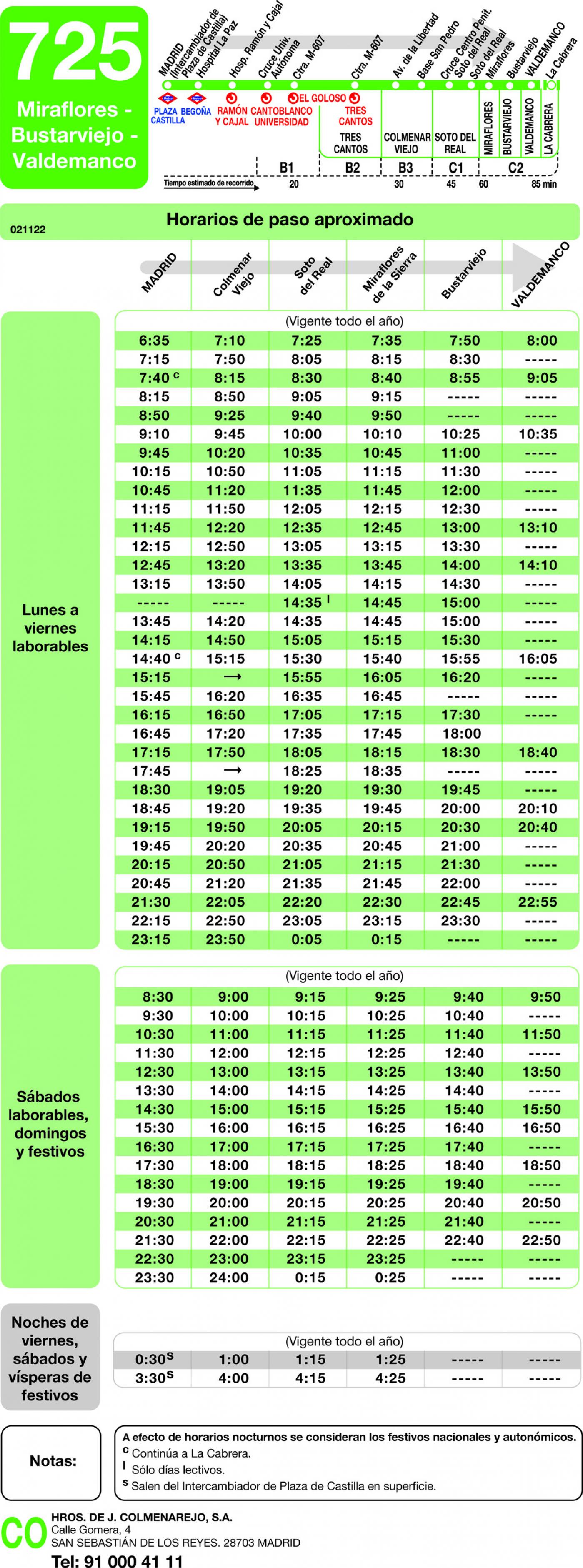 Tabla de horarios y frecuencias de paso en sentido ida Línea 725: Madrid (Plaza Castilla) - Miraflores - Bustarviejo - Valdemanco