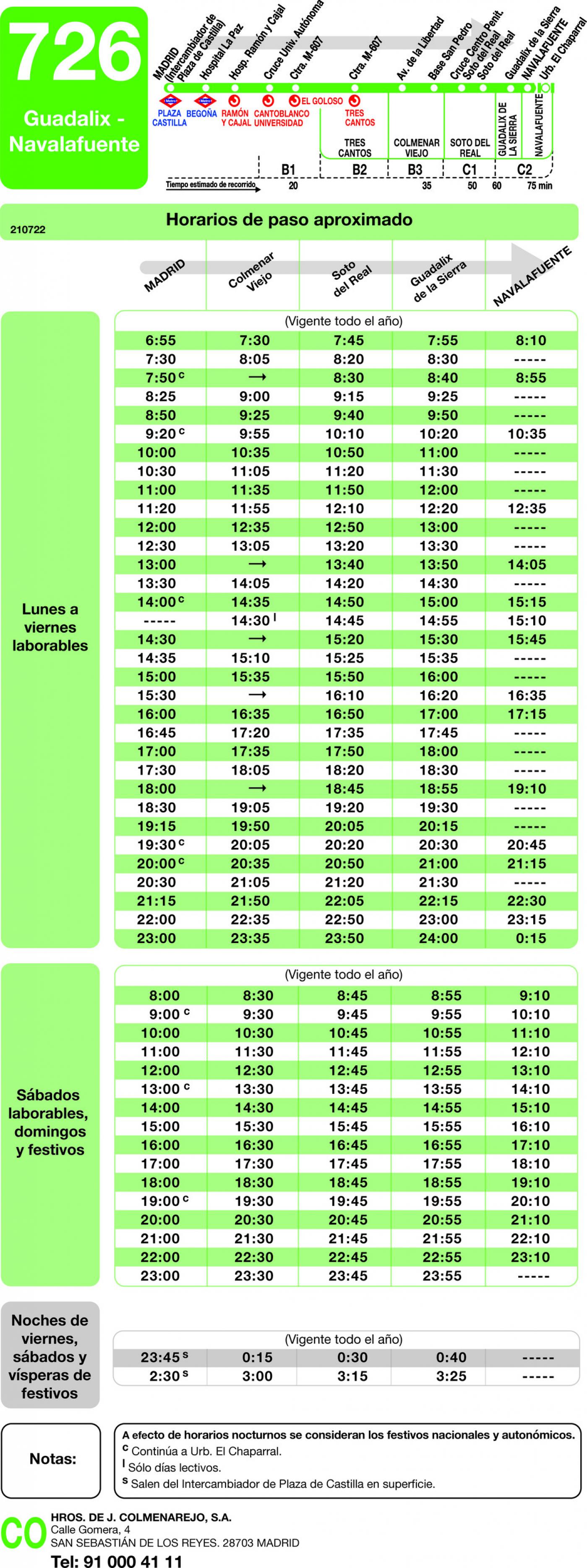 Tabla de horarios y frecuencias de paso en sentido ida Línea 726: Madrid (Plaza Castilla) - Guadalix - Navalafuente