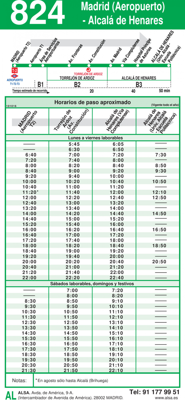 Horario ida de Línea 824