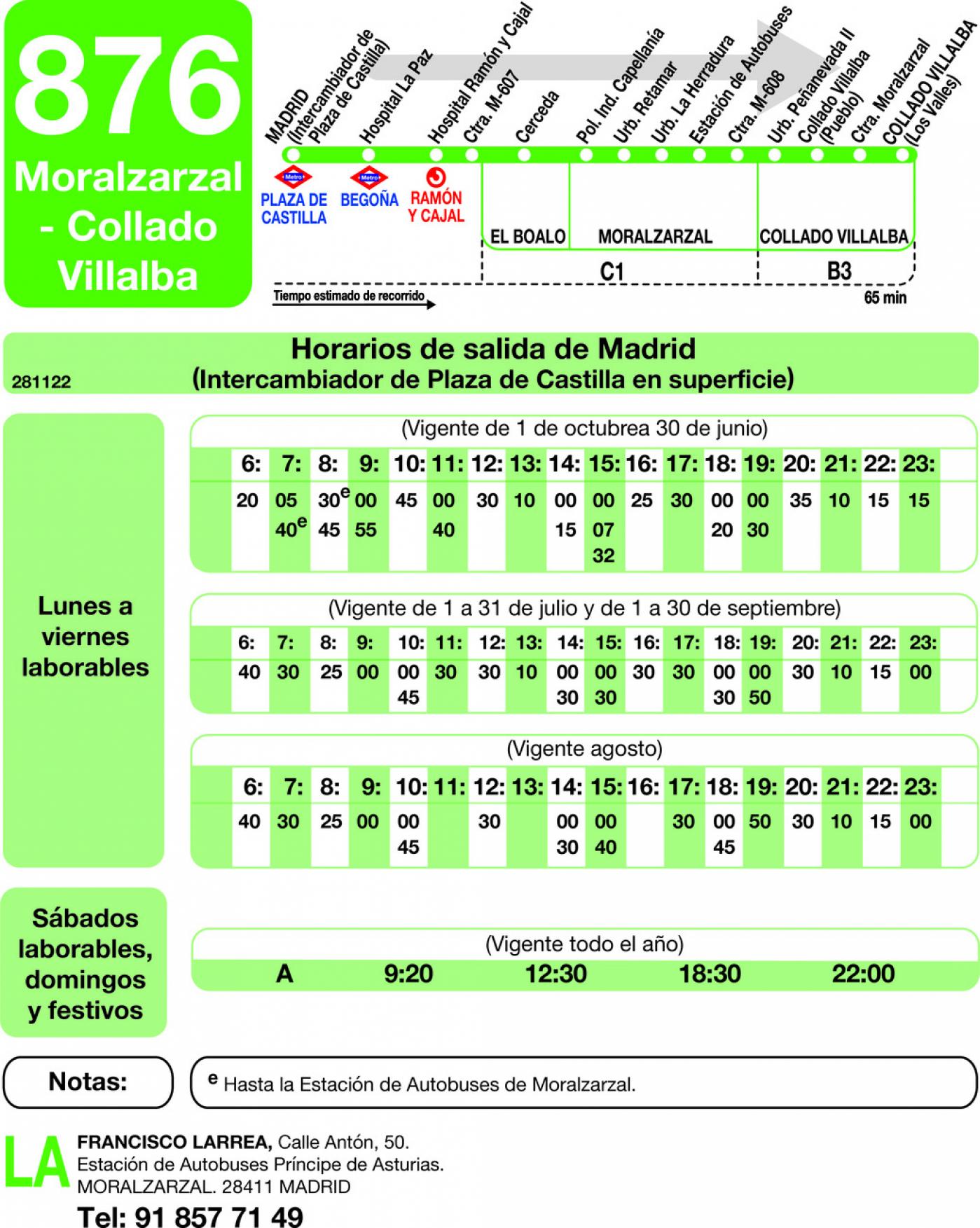 Tabla de horarios y frecuencias de paso en sentido ida Línea 876: Madrid (Plaza Castilla) - Moralzarzal - Collado Villalba