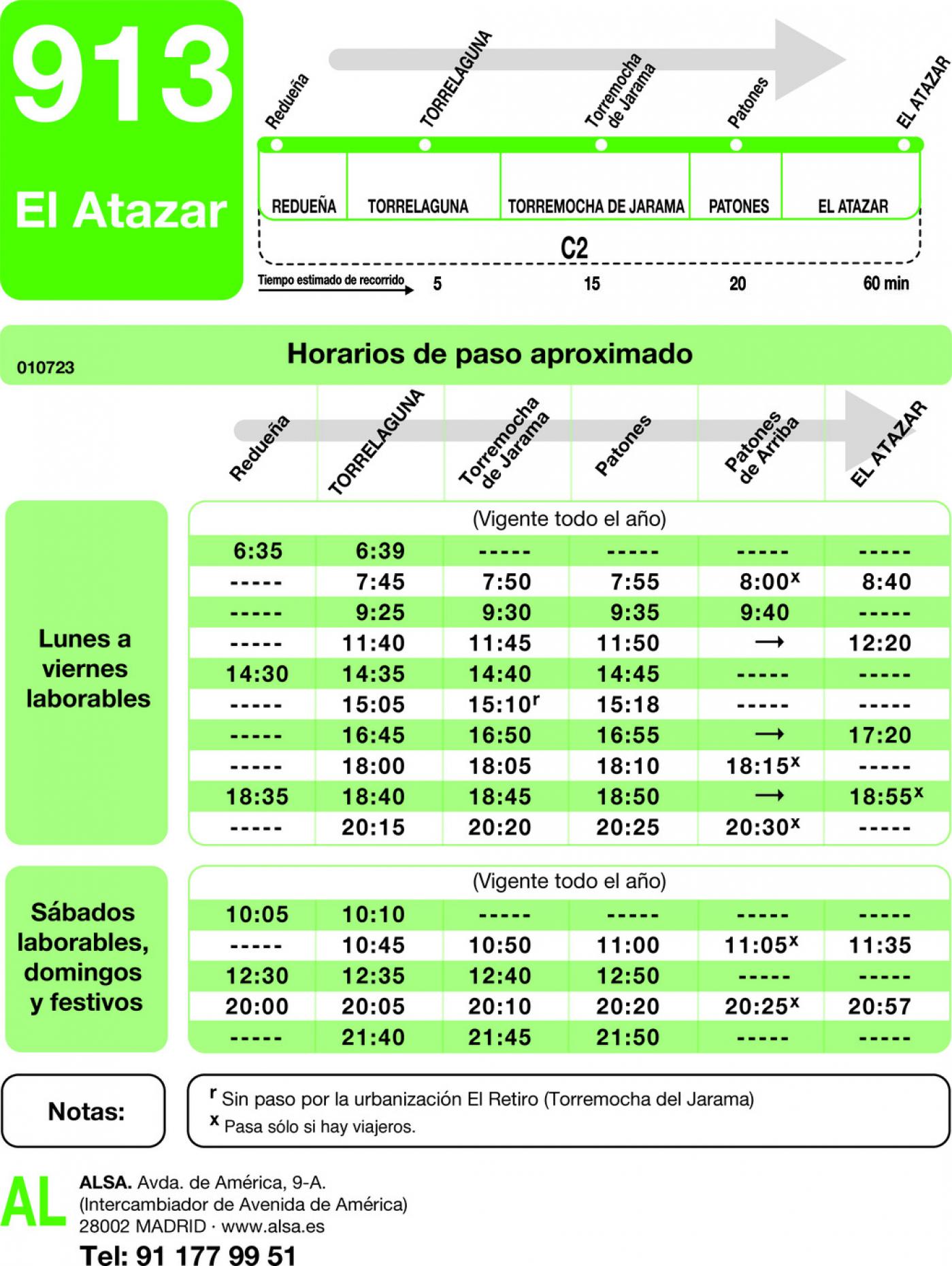 Tabla de horarios y frecuencias de paso en sentido ida Línea 913: Torrelaguna - El Atazar