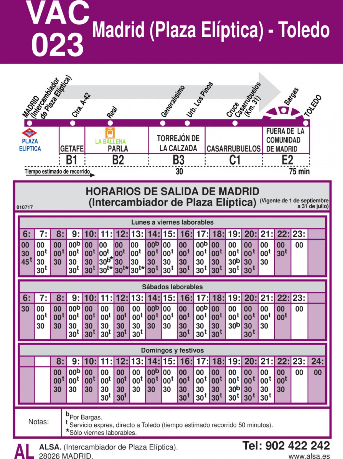 Tabla de horarios y frecuencias de paso en sentido ida Línea VAC-023: Madrid (Plaza Elíptica) - Toledo