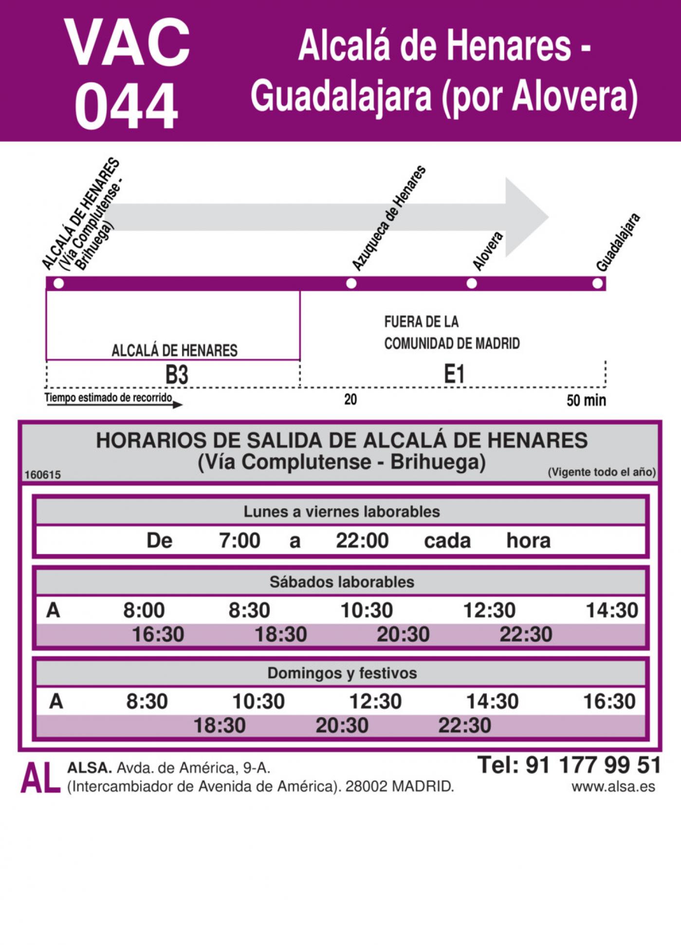 Tabla de horarios y frecuencias de paso en sentido ida Línea VAC-044: Alcalá de Henares - Guadalajara (Alovera)