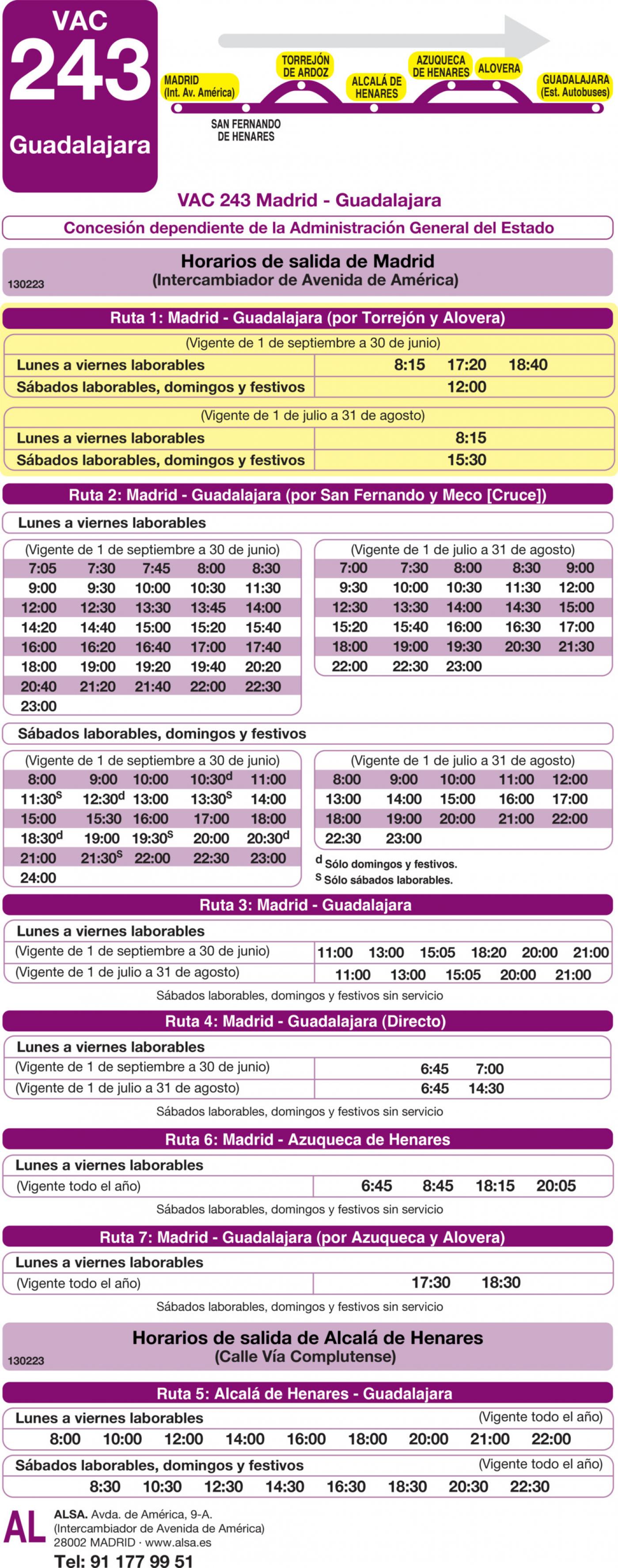 Tabla de horarios y frecuencias de paso en sentido ida Línea VAC-243  1: Ruta 1: Madrid - Guadalajara (por Torrejón y Alovera)