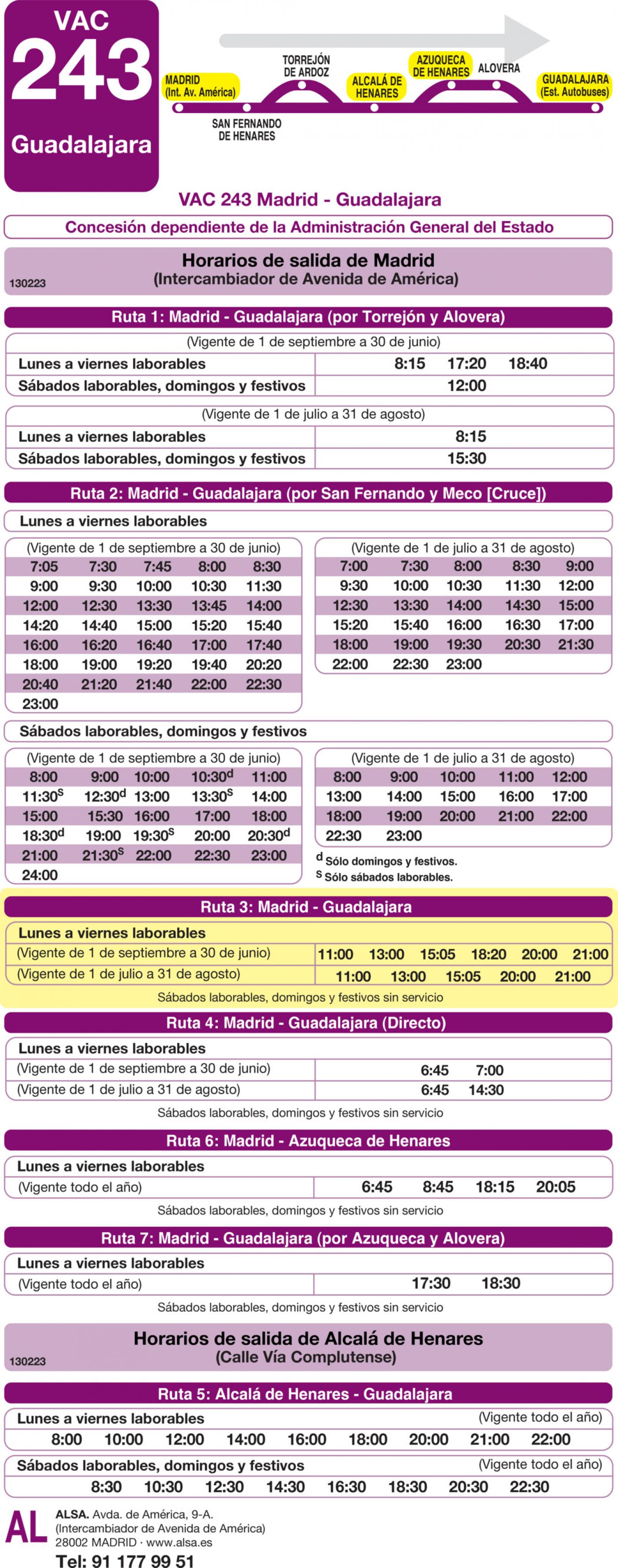 Tabla de horarios y frecuencias de paso en sentido ida Línea VAC-243  3: Ruta 3: Madrid - Guadalajara