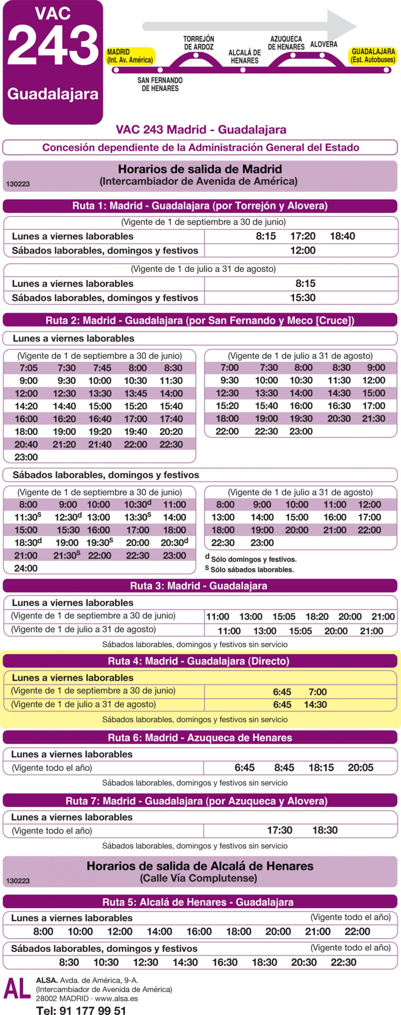 Tabla de horarios y frecuencias de paso en sentido ida Línea VAC-243  4: Ruta 4: Madrid - Guadalajara (directo)