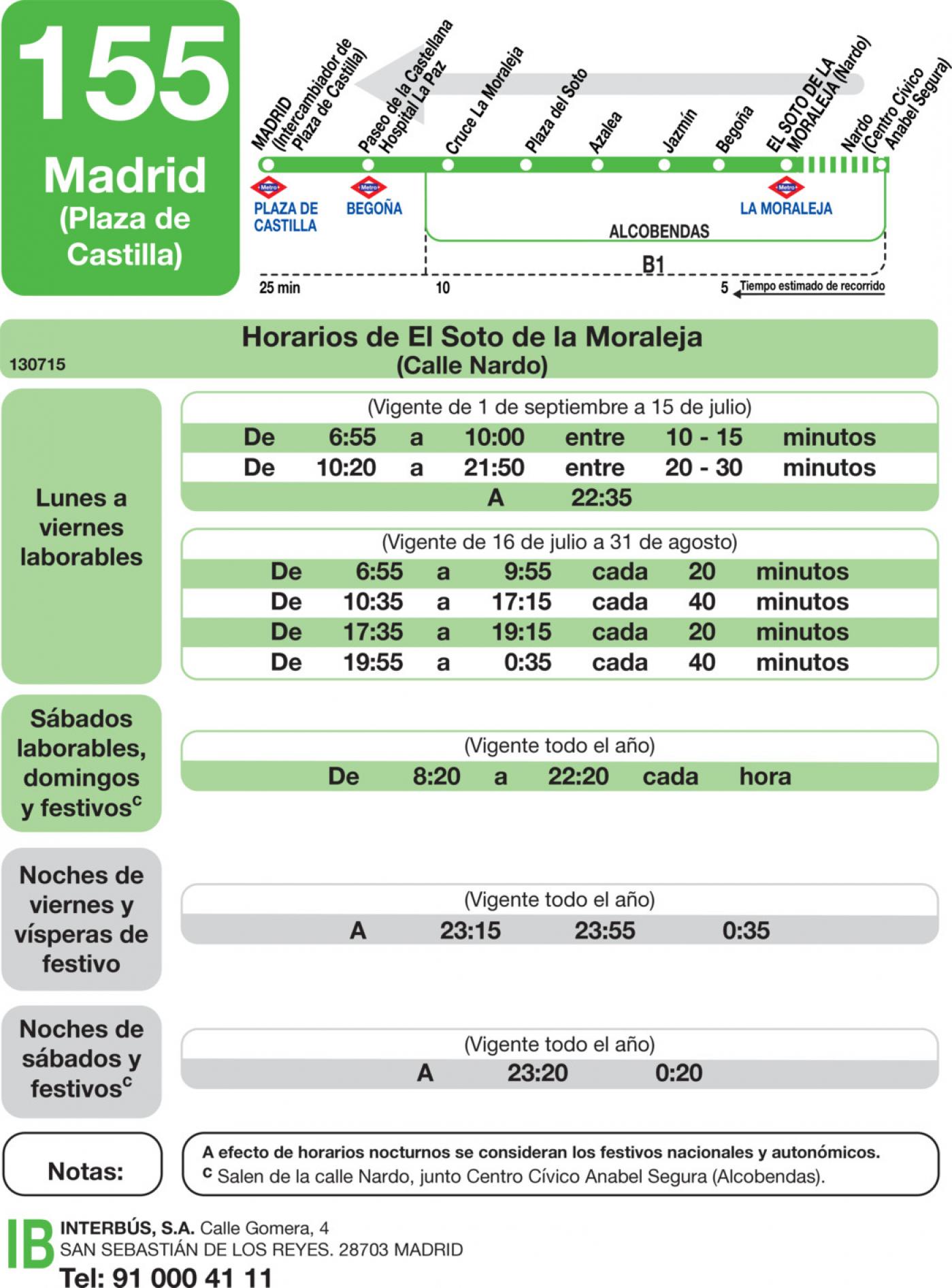 Tabla de horarios y frecuencias de paso en sentido vuelta Línea 155: Madrid (Plaza Castilla) - El Soto de la Moraleja