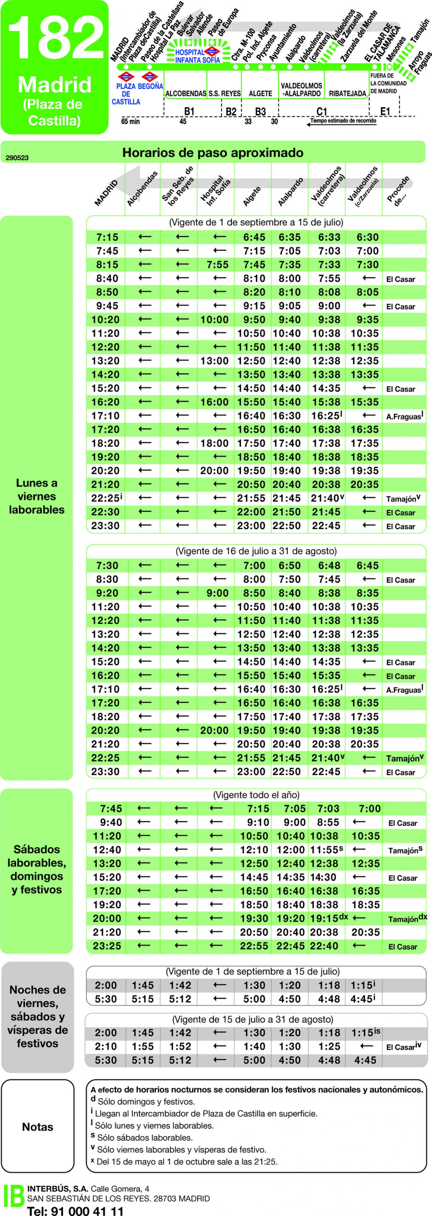 Tabla de horarios y frecuencias de paso en sentido vuelta Línea 182: Madrid (Plaza Castilla) - Algete - Valdeolmos