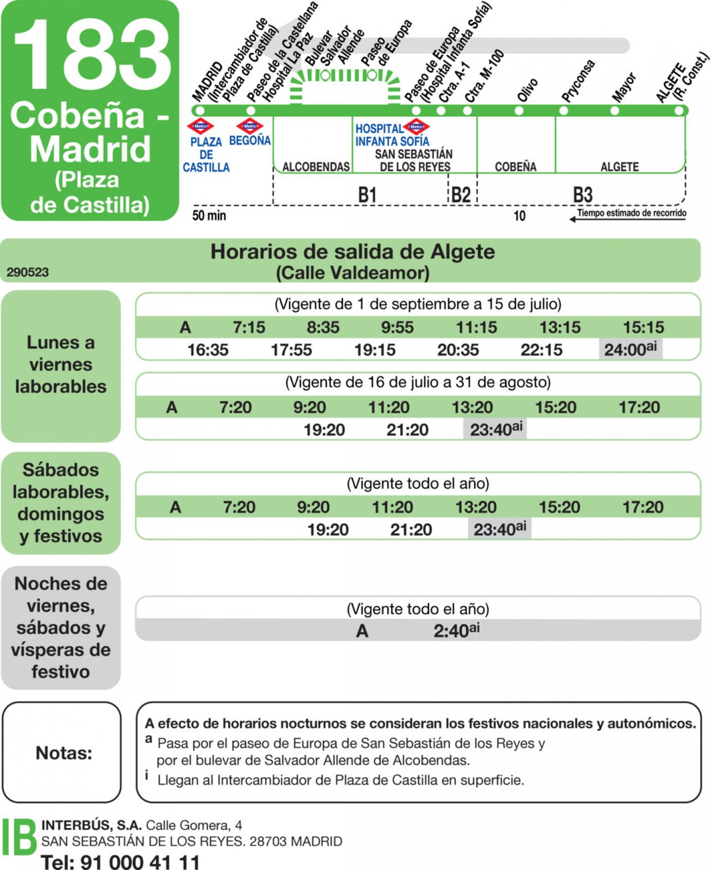 Tabla de horarios y frecuencias de paso en sentido vuelta Línea 183: Madrid (Plaza Castilla) - Cobeña - Algete