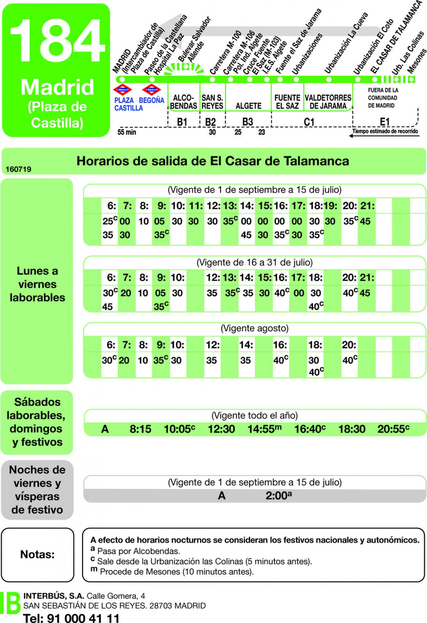 Tabla de horarios y frecuencias de paso en sentido vuelta Línea 184: Madrid (Plaza Castilla) - El Casar