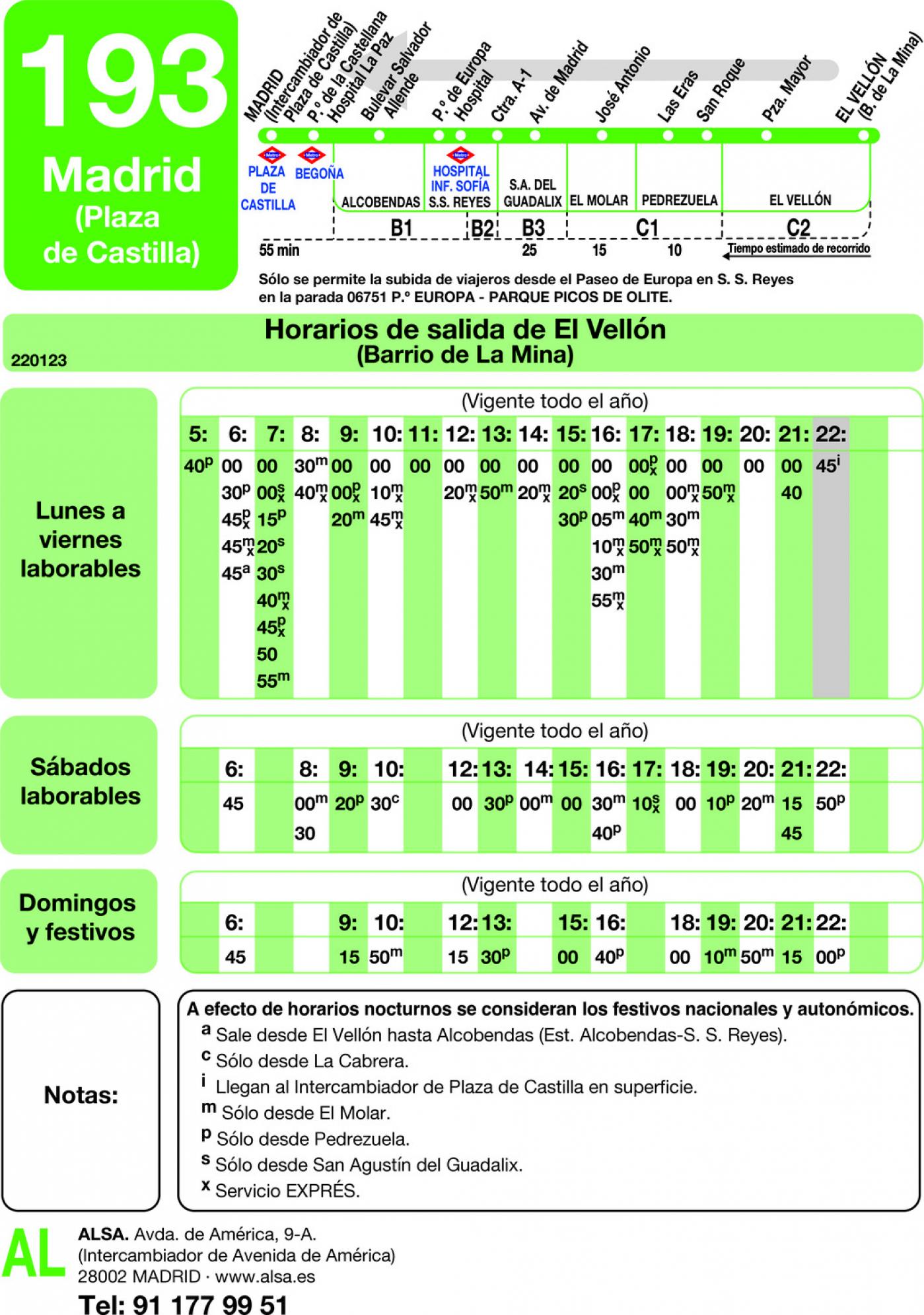 Tabla de horarios y frecuencias de paso en sentido vuelta Línea 193: Madrid (Plaza Castilla) - Pedrezuela - El Vellón